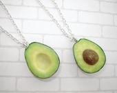 Pair necklaces. Best friends Avocado Halves Necklaces. Polymer clay food. Real look avocado.  Size avocado - 1 inch.