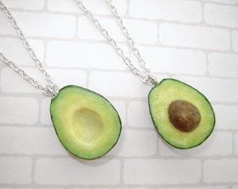 Pair necklaces. Best friends Avocado Halves Necklaces. Polymer clay food. Real look avocado.  Size avocado - 1 inch.