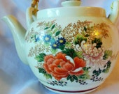 Japanese Teapot with Gilt Flowers Chrysanthemums