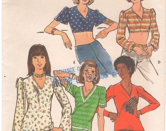 1970s - Butterick 3566 Vintage Sewing Pattern Size 14 Bust 36 Tops Close Fitting Cropped V Neck