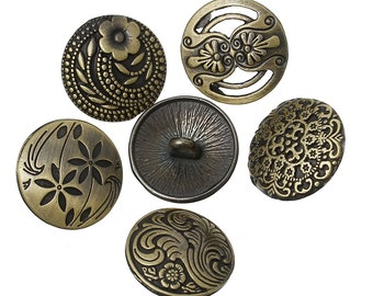 10 Bronze Buttons - Assorted - Sewing - Carved Flower Patterns - 17mm  - Ships IMMEDIATELY from California - A433