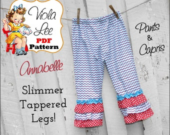 Annabelle...Girl's Ruffled Pants Pattern, Capris. Girl's Sewing Pattern. PDF Pattern. Toddler Pants Pattern. Slimmer fit with tapered legs