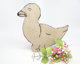 1930's Duck Door Stop, Antique Wooden American Folk Art