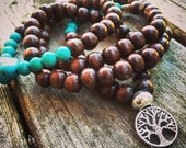 Yogi-inspired 108 wood bead mala meditation bracelet necklace with turquoise, wood, and Tree of Life