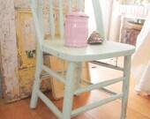 Chippy vintage minty green chair shabby chic farmhouse prairie