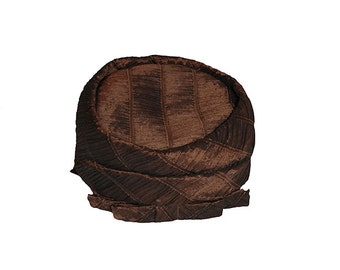1960s Pillbox Hat with Bow by Neiman Marcus, Pleated Brown Silk