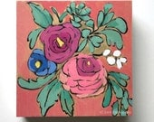 Original flower painting coral pink floral wall art