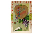 Antique Valentine Postcard, Vintage Valentine's Day Post Card, Gold Hearts, 1910s Holiday Greeting, Ivy, Purple Violets, Old Correspondence