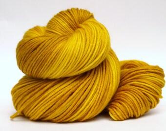 Hand Dyed Worsted Weight Yarn, 327 yards, 100% Superwash Merino, Gold
