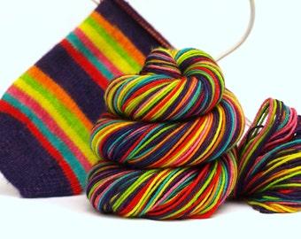 Hand Dyed Fingering/Sock Yarn, Self Striping, Sparkle Sock, Socktober 2015