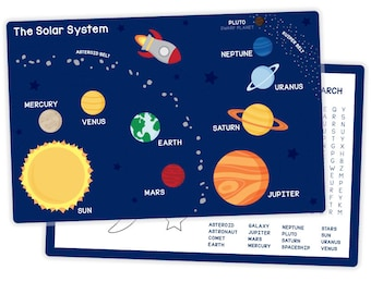 Solar System Placemat - Activity Placemat for Kids - Space Placemat - Planets Placemat - Educational Kids Placemat - Laminated Placemat