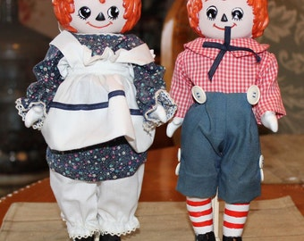 """Cute 11"""" Artist Designed Porcelain Raggedy Ann and Andy Dolls"""