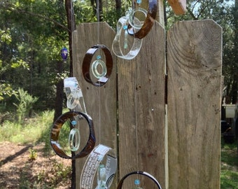 brown, clear, GLASS WINDCHIMES - RECYCLED Wine bottles,  garden decor, mobiles, windchimes, glass wind chimes, glass
