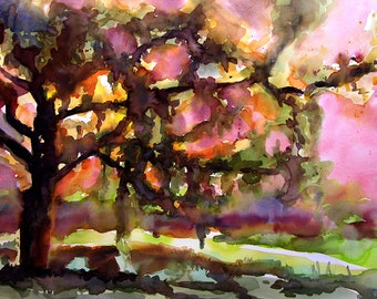 Original, one-of-a-kind, large tree landscape painting of sunset behind the oak.  Brilliant colors coming through spanish moss laden tree.