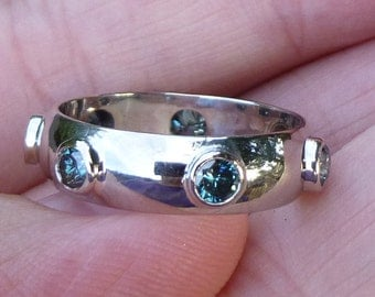 Beautiful....Bezel set Emerald Green Diamond Eternity Ring in White gold 5.6mm wide....hand made one of a kind...1.05 total weight