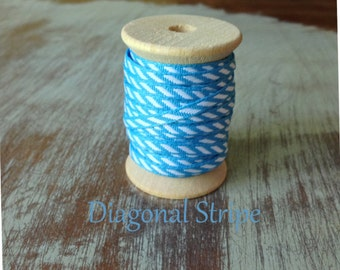 Blue and White Diagonal Stripe Stitched Woven Ribbon - 10 Yards on Wooden Spool - 1/8 Inch Width Ribbon - Packaging Ribbon -Gift Ribbon