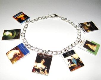 Jane Austen book  Bracelet,   Jane Austen charm bracelet, Jane Austen Book Jewelry