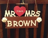 Mr And Mrs Wedding Chair Sign, Wedding Sign, Last Name Wood Sign, Reception Decor, Bride and Groom