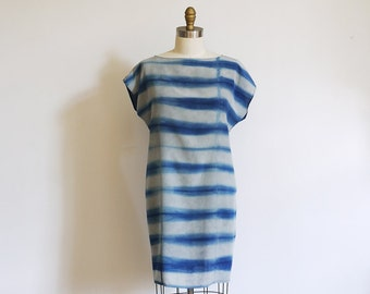 Silk mini Dress natural dye Indigo.  Shibori stripes Made to order