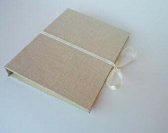 SALE Photo case packaging for photographer - linen cd cover - foto holder - portfolio - cream beige case - CD / DVD case