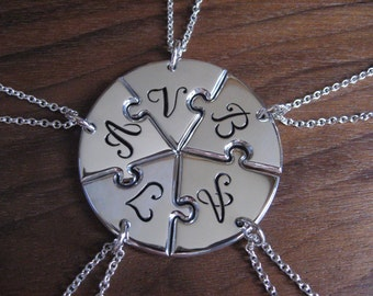 Five Piece Circle, Personalised Best Friend Pendant Necklaces