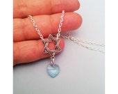 Magen David Necklace Pendant and Chain, Judaica Israeli Jewelry Handamade, Simple Style Necklace Silver & Light Blue Heart