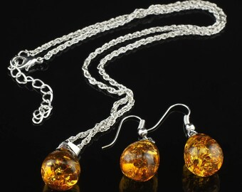 Amber- Set of 2 Amber Bead Necklace and Earring sets- wedding, bridal, bridesmaid, special occasion