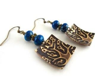 Embossed Tree Earrings - Dark Turquoise Earrings - Sea Sediment Jasper - Vintaj Brass Earrings - Square Charms - Gemstone - SRAJD 3955