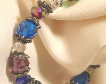 Stretch bracelet/12 mm multi colored/8 mm crystals/antique gold beads caps/8mm crystal spacer beads/Free USA shipping only