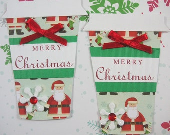 Christmas Cup Scrapbook Embellishment, Christmas Coffee Tag, Set of 2, Vintage