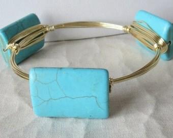 "Turquoise Howlite Large Rectangle Bangle Bracelet ""Bourbon and Bowties"" Inspired"
