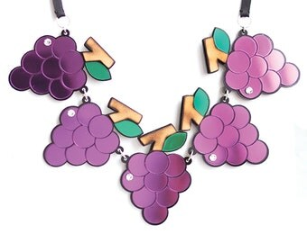 Grape Collar Necklace in Purple Perspex with Swarovski crystal