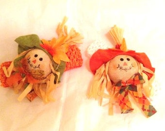 The Happy Scarecrow Headband...NB,Inf,Tod Girls.Autumn.Fall,Thanksgiving,Halloween,Partywear, Photo Prop, Pet Accessory