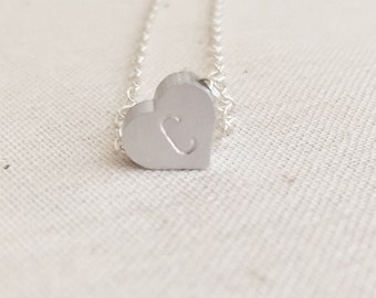 Silver Initial Heart Necklace, Custom Necklace, Personalized Heart Charm Necklace, Bridesmaid Gift, Dainty Necklace, Heart Charm Necklace,