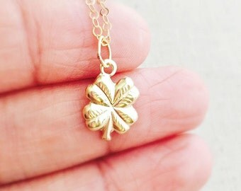 14k Gold Filled Clover Necklace, Gold Clover Charm Necklace, Four Leaf Clover Necklace, Birthday Gift, Lucky Charm Necklace, Lucky Charm