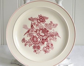 Gustavsberg dinner plate, vintage Swedish, 1940,s cookie plate red transferware