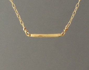 Tiny Gold Horizontal Hammered Bar Necklace also in Silver