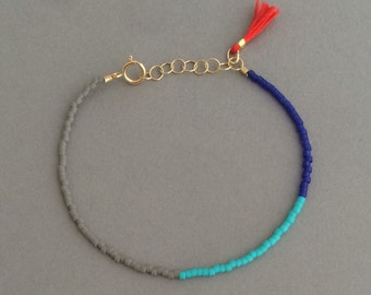 GRAY TURQUOISE BLUE Seed Bead Gold Bracelet with Tassel also available in Silver Rose Gold