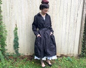 Vintage Oversized Ruched Detailed Black Gothic Victorian Rain Coat with Pockets L XL