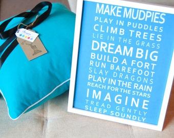 Imagine Poster for Childs Bedroom or Nursery - Dream Big, Make Mudpie's.