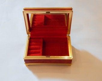 Vintage Jewelry Box Mid Century Small Red Velvet Jewelry Organizer