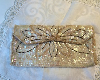 Vintage Clutch with Beads and Sequin Wedding Clutch Formal Accessory White Sequin and Pearls Clutch Prom Accessory Sparkle