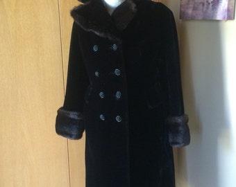 Vintage Faux Fur Coat Borgazia Styled by Sportowne Long Black Faux Fur Double Breasted Size S/M