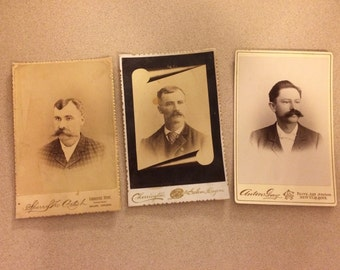 Vintage Cabinet Card Photographs Set of Three Men with Big Mustaches Sepia Toned Vintage Photographs