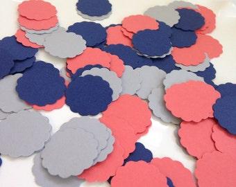 Navy Coral & Gray Confetti   Navy Paper Confetti   Coral Paper Confetti   Navy and Coral Confetti   Nautical Wedding   Gray Confetti  150 CT