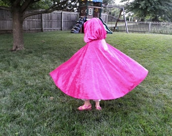 "Princess Anna Once Upon a Time inspired Fancy Velvet custom Cape Cloak w/ Hood Pink Pinkalicious Fairy Queen Elf Hobbit Wizard 27"" long"