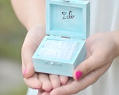 Vintage chic  I DO ring bearer box - something blue