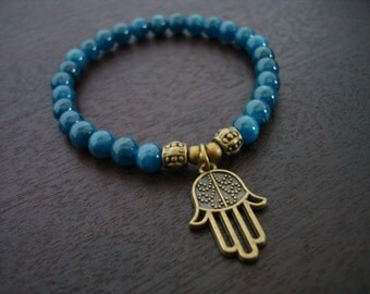 Women's Apatite Protection Mala Bracelet - Apatite & Bronze Hamsa Mala Bracelet - Yoga, Buddhist, Prayer Beads, Jewelry