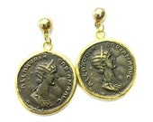 Roman Coin Hammered Earrings