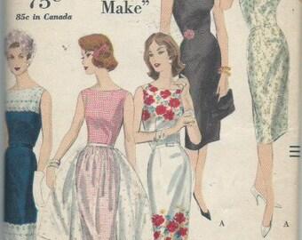 Vintage 1960 Misses' One Piece Dress and Apron Pattern Vogue 9971